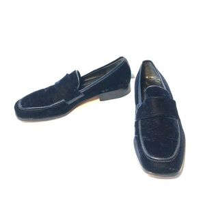 COLE-HAAN LOAFERS, BLUE VELVET & LEATHER TRIM SZ-9